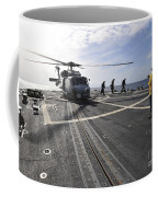 A Helicpter Sits On The Flight Deck Coffee Mug