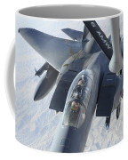 A Kc-135 Stratotanker Refuels An F-15e Coffee Mug