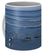 A Longboard Surfer Watches The Surf Coffee Mug by Rich Reid