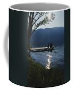 A Man And His Dog On A Lake Skaha Dock Coffee Mug