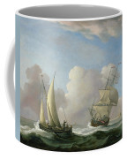 A Man-o'-war In A Swell And A Sailing Boat Coffee Mug