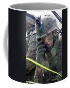 A Marine Communicates Over The Radio Coffee Mug