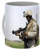 A Marine Looks At A Brand New Coffee Mug