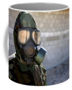 A Marine Wearing A Gas Mask Coffee Mug