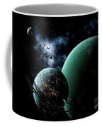 A Massive Space Station Orbits A Large Coffee Mug