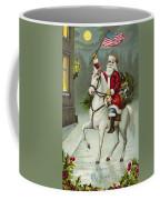 A Merry Christmas Card Of Santa Riding A White Horse Coffee Mug