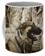 A Military Working Dog Sits At The Feet Coffee Mug by Stocktrek Images