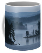 A Misty Forest Lake With A Small Island Coffee Mug