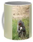 A Monkey Enjoying An Ice Cream Cone Inside Delhi Zoo Coffee Mug