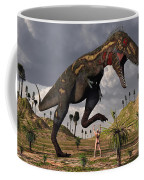 A Nano-tyrannosaurus Takes On Adam Coffee Mug
