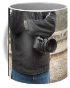 A Photographer With His Digital Camera On Location At A Historical Monument Coffee Mug