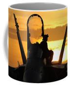 A Plane Captain Enjoys A Sunset Coffee Mug