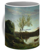 A Pond With Three Cows And A Crescent Moon Coffee Mug