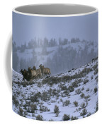 A Reintroduced Wolf Chases A Herd Coffee Mug