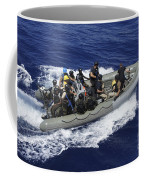 A Rigid-hull Inflatable Boat Carrying Coffee Mug