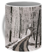 A Road Running Through Snow-covered Coffee Mug