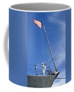 A Sailor Lowers The U.s. Navy Jack Coffee Mug