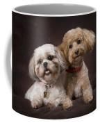 A Shihtzu And A Poodle On A Brown Coffee Mug