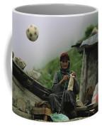 A Soccer Ball Flies Over The Head Coffee Mug