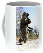 A Soldier Looking Through Binoculars Coffee Mug