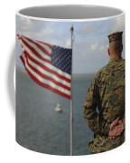 A Soldier Stands At Attention On Uss Coffee Mug