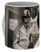 A Soldier Stands Watch At The Camp Coffee Mug