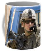 A Soldier Talking Via Radio Coffee Mug by Stocktrek Images