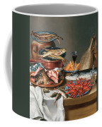 A Still Life Of A Fish Trout And Baby Lobsters Coffee Mug