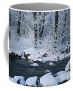 A Stream Running Through Snowy Woodland Coffee Mug