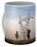 A Transmission Tower Carrying Electric Lines In The Countryside Coffee Mug