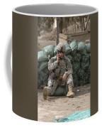 A U.s. Army Soldier Talks On A Radio Coffee Mug
