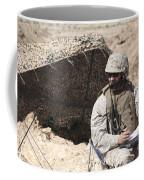 A U.s. Marine Communicates With Close Coffee Mug
