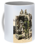 A U.s. Marine Dressed In A Bomb Suit Coffee Mug