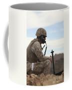 A U.s. Marine Uses A Field Phone Coffee Mug