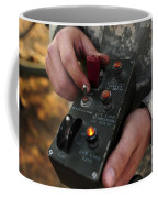 A U.s. Soldier Hits The Button Coffee Mug by Stocktrek Images