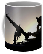 A U.s. Soldier Talks On A Hand Mike Coffee Mug by Stocktrek Images