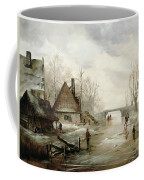 A Winter Landscape With Figures Skating Coffee Mug