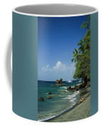 A Woman Enjoys Sunbathing On The Beach Coffee Mug by Anne Keiser