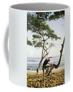 A Woman Stretches On A Beach Coffee Mug by Skip Brown