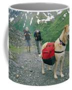 A Yellow Labrador, Wearing A Backpack Coffee Mug by Rich Reid