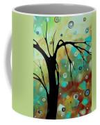 Abstract Art Original Landscape Painting Colorful Circles Morning Blues IIi By Madart Coffee Mug