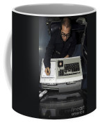 Air Traffic Controller Records Incoming Coffee Mug