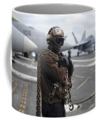 Airman Stands By With Tie-down Chains Coffee Mug