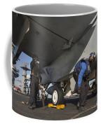 Airmen Chain Down An Fa-18e Super Coffee Mug