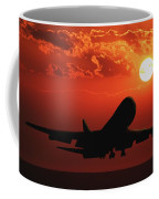 Airplane Landing At Sunset Coffee Mug