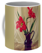 Amaryllis Lillies In A Dark Glass Jug Coffee Mug