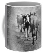 American Quarter Horse Herd In Black And White Coffee Mug