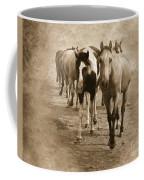 American Quarter Horse Herd In Sepia Coffee Mug
