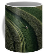 An Aerial View Of A Tractor On Curved Coffee Mug