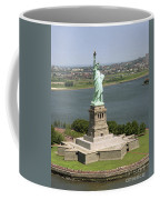 An Aerial View Of The Statue Of Liberty Coffee Mug